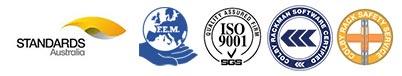 Standards Australia logo, FEM logo, ISO 9001 SGS logo and Colby Rack Safety Service logo